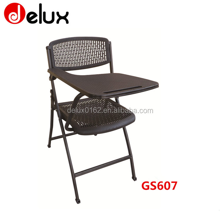 cheap school chair with writing board and book basket pp seat school chair GS607