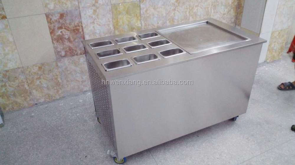 2015 new design single pan with the cooling barrels for making the ice cream roll, mix, ice dessert