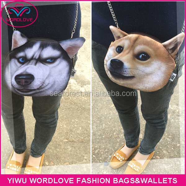 3D dog head design sling crossbody shoulder bag,funny hotsale 3D animal bag