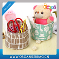 Encai Cheap Foldable Storage Box Cotton Fabric Desk Storage Basket
