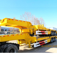 Tri-axle hydraulic low bed semi trailer dimentions with load capacity 60 tons