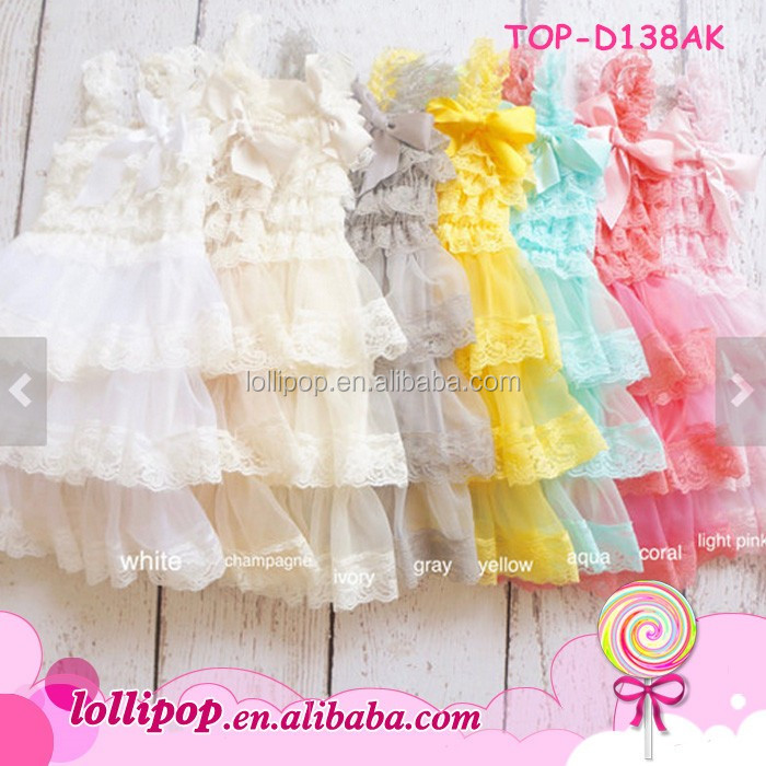 Wholesale lace spaghetti strap communion dress 3 layers fancy baptism baby girl smocked christening gowns