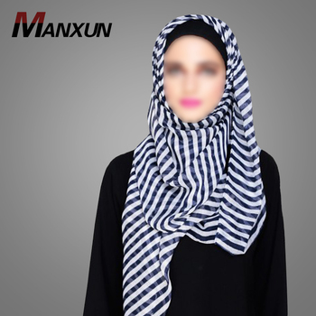 New Fashion Striped Blue and White Hijab Middle East Ethnic Region Dubai Online Wholesale Scarf