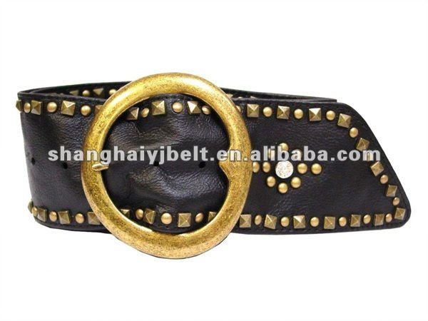 soft wide leather women's sash belt with brass pyramid stud YJ-GH014