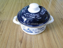 traditional China decals coating strait pot with bulb handle cassrole