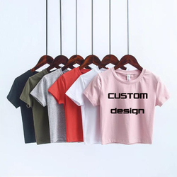 Latest Top Quality Factory Price 100 Cotton Custom Silk Screen Printing Crop Top Ladies