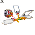 2018 newly 4 color 2 station t shirts screen printing machine with micro registration
