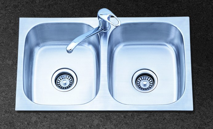2 bowl stainless steel sink with drainer -HQ-204T
