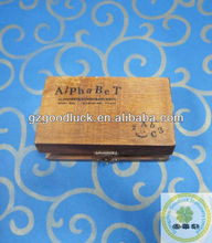 Stamp Set Stamp with 30 Alphabet Capital Letters Characters Vintage Wooden Box