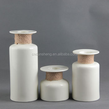 wholesale contemporary white 3 -Pieces Ceramic bud Vase Assortment with rope