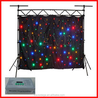 HOT WLK-1F Black fireproof Velvet cloth four leds star backdrop curtains in guangzhou