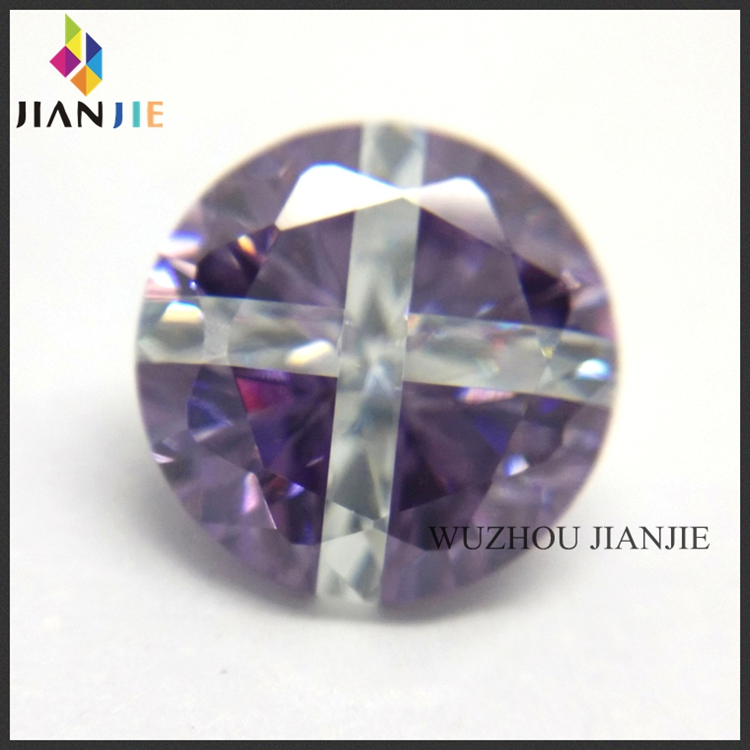 Hot Sale Amethyst and White Cross Diamond Cut CZ Synthetic Gems Cubic Zirconia Stone