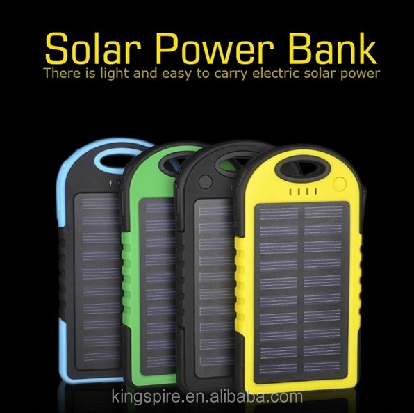 5000 mah Mobile Portable Solar Power Solar USB Power Universal USB Backup Power