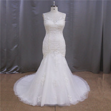 Best price stretch half sleeves crystal sequin bodice wedding dress