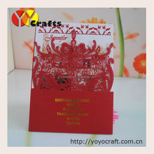 Adorable new pocket design invitation card red laser cut floral traditional wedding invitation card
