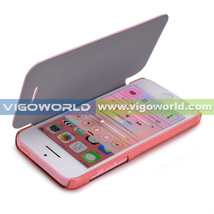 Book style cover case for iPhone5c,5s,high quality genuine leather like PU with sheer matte PC,different colors available