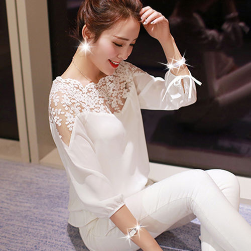 C70596A New Sexy Ladies Embroidered Lace Shirt Long Sleeve Women Tops Blouse