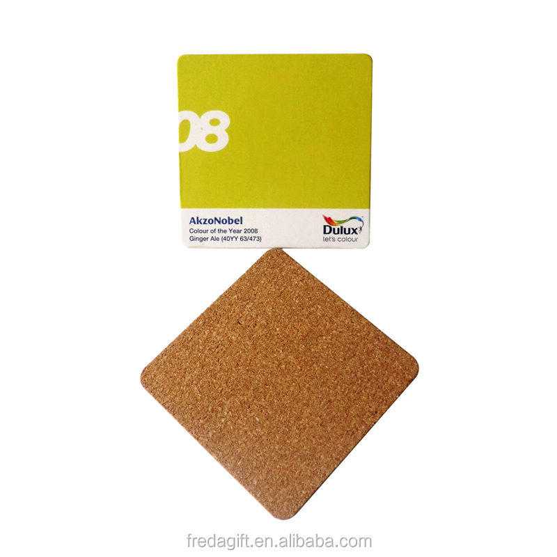 Wholesale wooden coaster waterproofing square MDF cork coaster/blank wood coasters