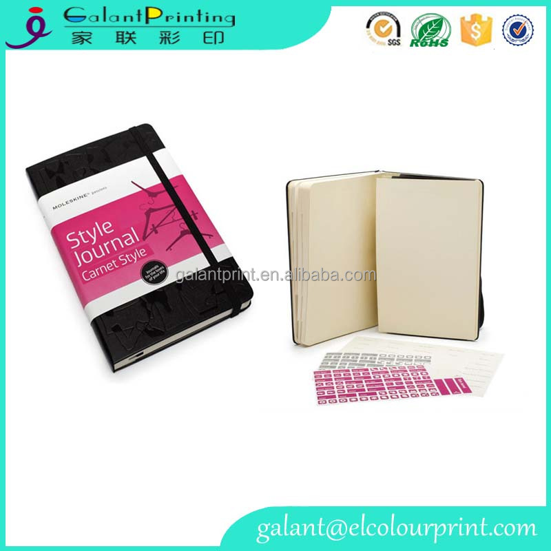 custom A5 size paper notebook with embossed PU leather cover