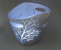 plastic led ice bucket with hollow out logo