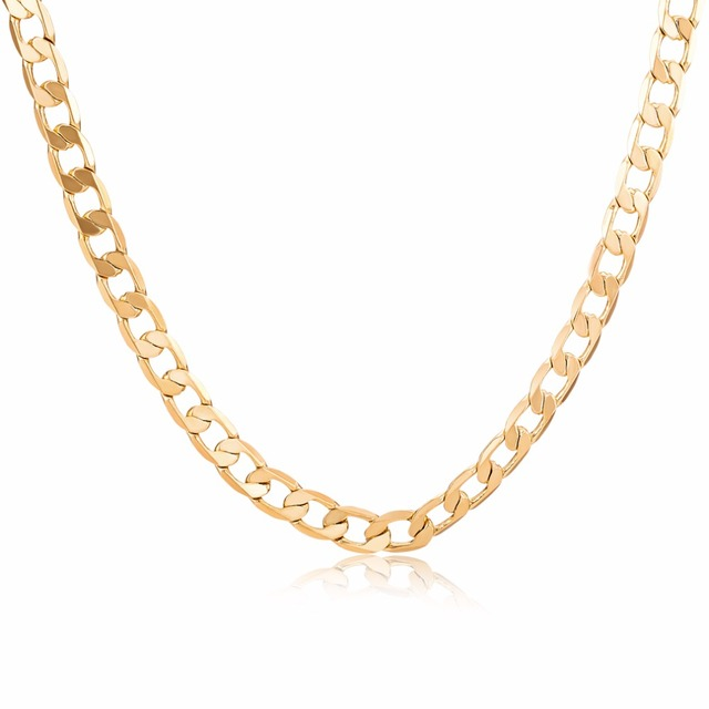 Gold plated flat chain necklace for women and men