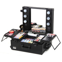 Wholesale professional 360 degree 4 wheel rolling multilayer drawers makeup case with lighted mirror