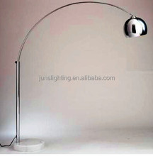 E27 large fishing floor lamp with marble base