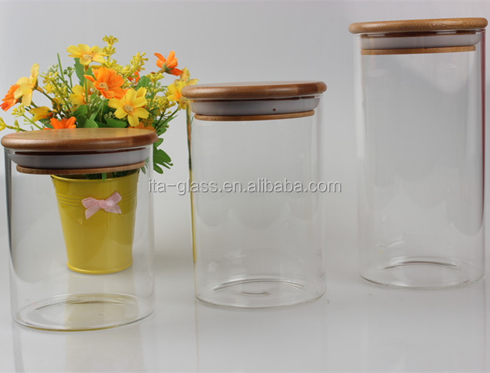 new product large capacity cylinder shape airtight high borosilicate clear glass container with bamboo lid