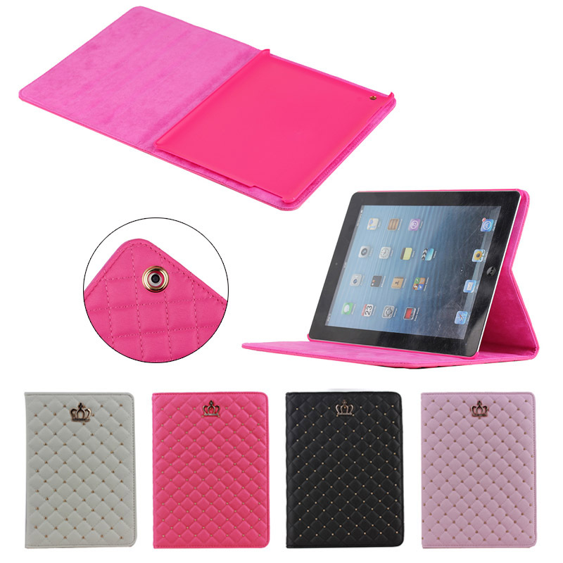 Hot Selling Luxury Crown Leather Case Stand Cover for iPad 2/3/4 , for ipad tablet covers