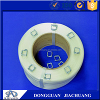 Polyester strapping band to steel strap