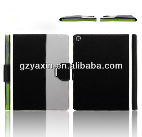 Stylish Leather Phone Case for ipad 5 black&white color leather cases cover