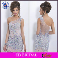EDE363 One Shoulder Bling Crystal See Through Back Short Evening Gowns for Teenagers