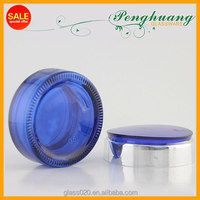 Elegent 1OZ 2OZ Clear Blue glass jar with silver cap and cover