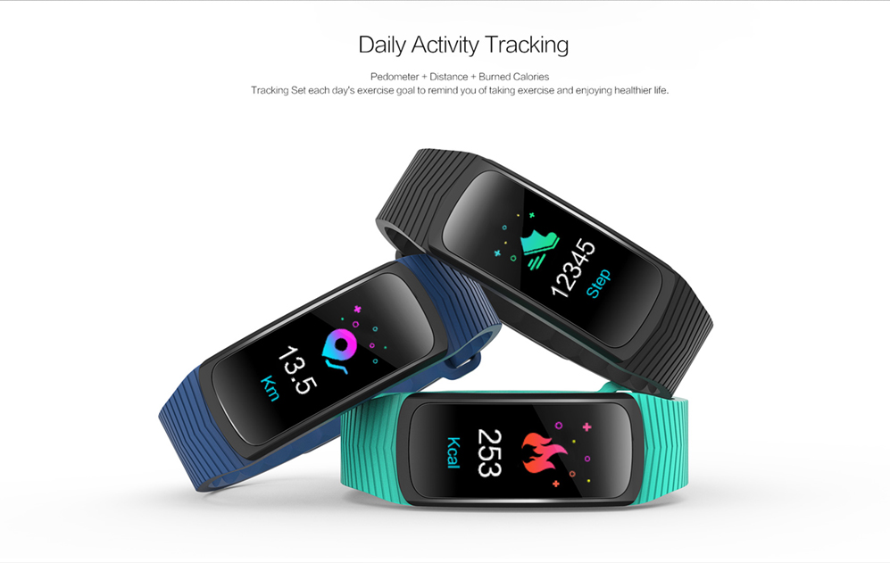 Bluetooth 4.0 IP68 Waterproof B3 Smart Bracelet Heart Rate and Blood Pressure Supported