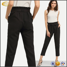 Ecoach high quality women's fashion 2016 black Black Pockets Tie Waist Cropped wide leg palazzo trousers