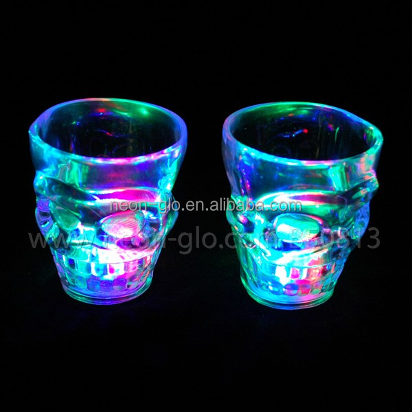 Light up Mini Plastic Skull Cups for 2018 Halloween Promotion
