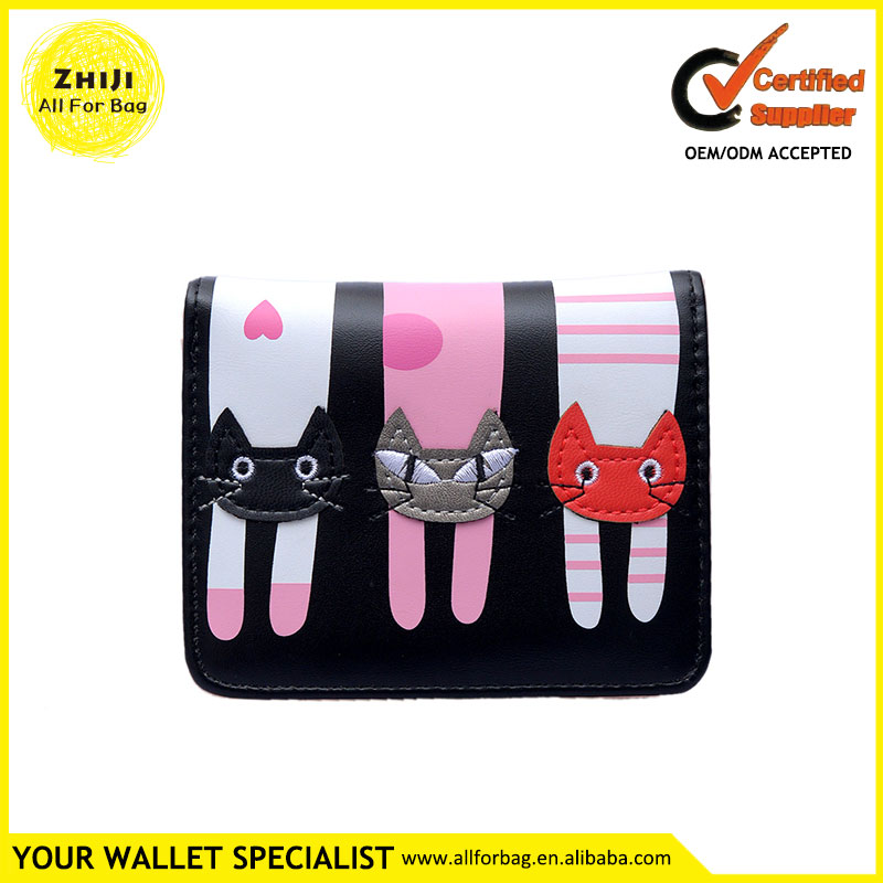 Hot Women Wallet Bags Female Zipper 2016 Lady Pu Leather Embroidery Cute Cat Cartoon Design Short Ladies Purse