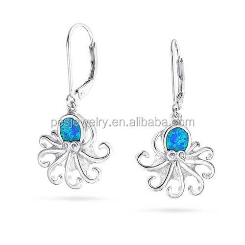 Christmas Gifts Synthetic Blue Opal Nautical Octopus Leverback Earrings Sterling