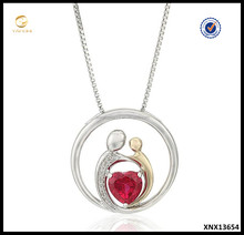 Sterling Silver Created Ruby Heart Mother's Jewelry Circle Accent Pendant Necklace