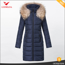 casual down jacket with fur collar hood waterproof duck down jacket Chinese puffer goose down long coat