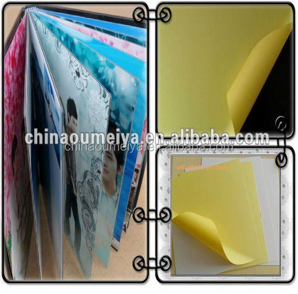 self-adhesive pvc sheets for photo book/weddig album making