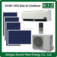 Home off grid 12000BTU 18000BTU dc compressor 48V lower price 100% air conditioner of solar pannels & solar batteries