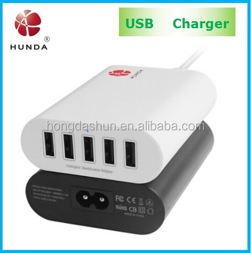 Solar Multi USB Type and Mobile Phone Use usb multi charger with AC cable for iphone 5
