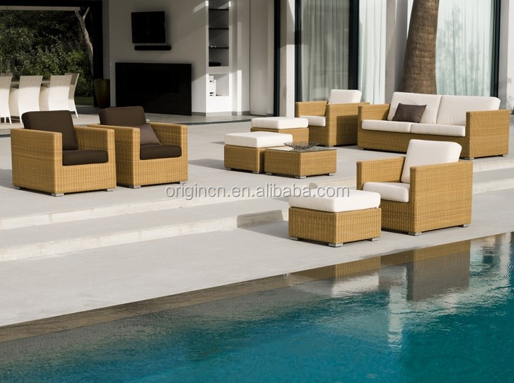 Factory direct wholesale dubai style swimming pool big wicker sofa set ratan noble house furniture patio