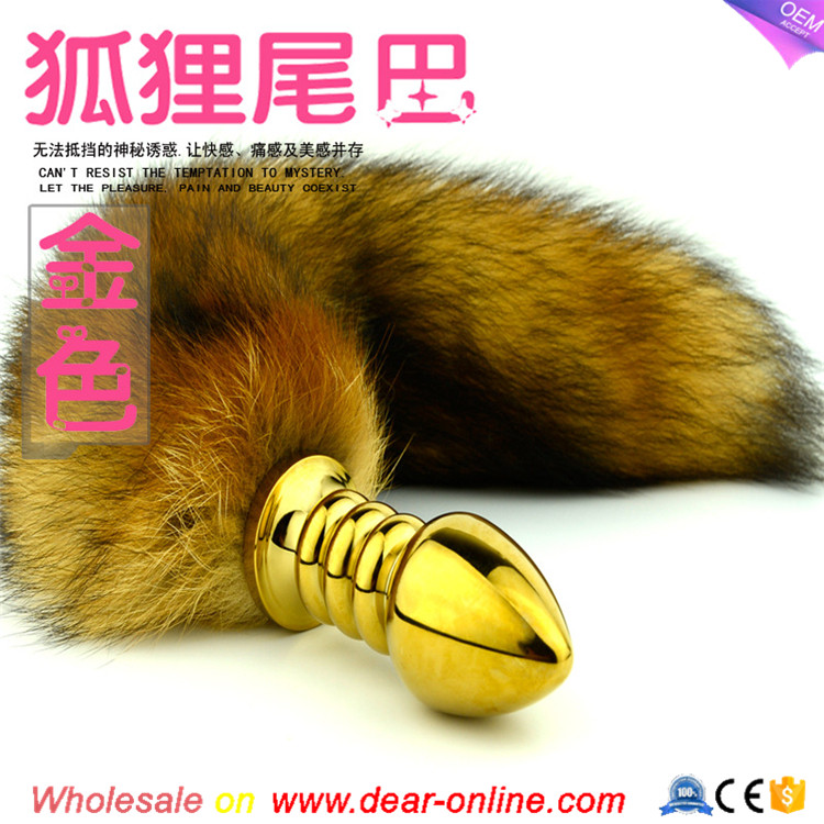 2016 Metal Butt Plug let tail anal plug ,Sex toy tail names Fox Tail Anal Plug , Erotic Sex Toys For Women butt plug