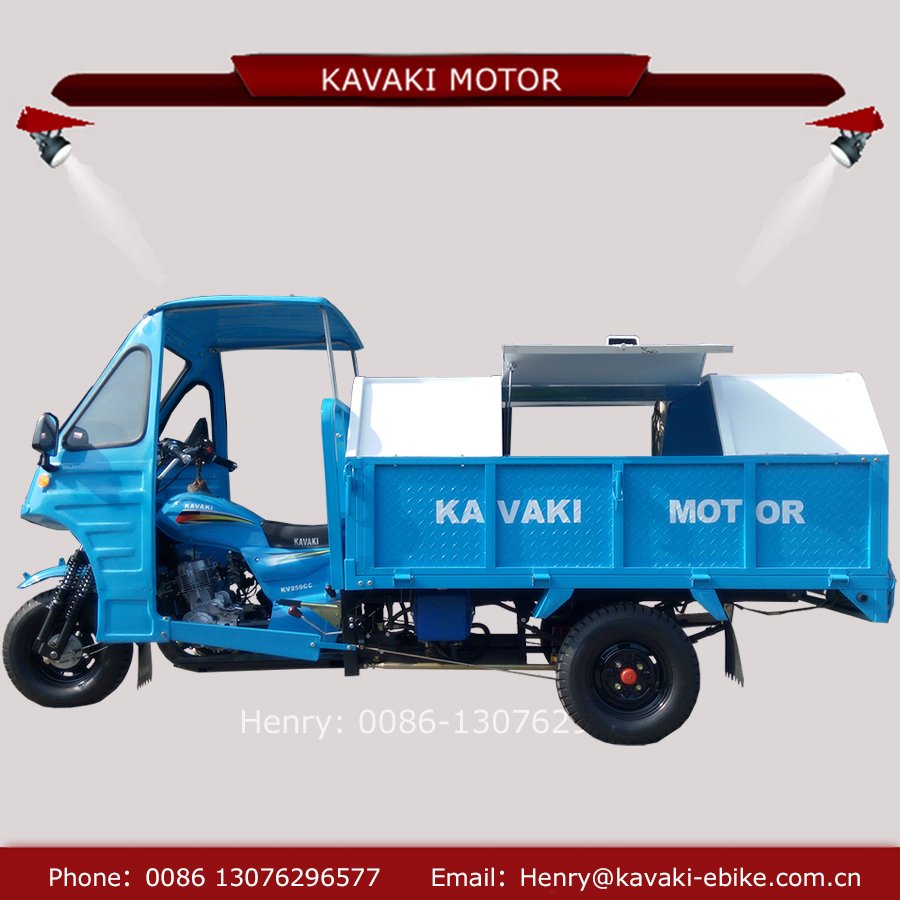 Motorized factory 250cc 3 wheel enclose cabin sanitation rubbish garbage collecting tricycle for sale