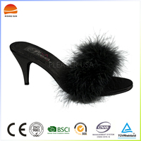 Pretty Steps sexy black platform nailing feathered women ladies high heel sandals shoes