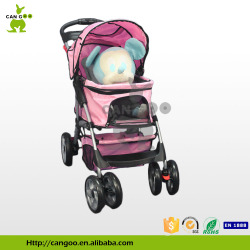 4 Wheels Pink Pet Carrier On Wheels Pet Stroller