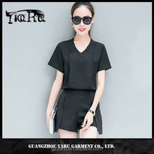 Latest Design Fashion Blouse and Short Pants Loose Suit for Women ladies