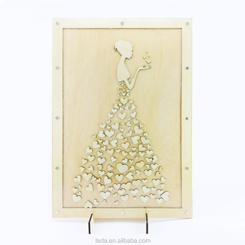 Hot Die Cutting wood Hardcover Wedding Favor Guest Books
